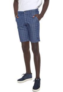 Bermuda Jeans Aleatory Chino Quadriculada Azul