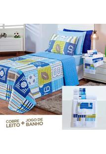 Kit Combo Cobre Leito + Jogo De Banho Futebol Azul Solteiro 07 Peã§As Dupla Face 150 Fios.. - Azul - Masculino - Dafiti