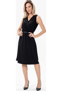 Vestido Clássico Preto Com Transpasse