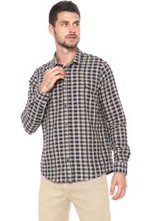 Camisa Reserva Reta Vichy Bege/Azul-Marinho