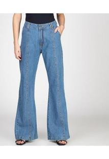 Calça Jeans Pantalona Com Recorte Bloom Feminina - Feminino