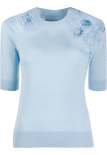 Ermanno Scervino Blusa De Tricô Com Aplicação De Crochê - Azul