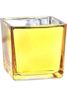 Vaso Castiçal- Dourado- 8X8X8Cm- Grillogrillo