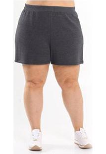 Short Beline Plus Size De Moletom Miss Masy - Feminino-Cinza