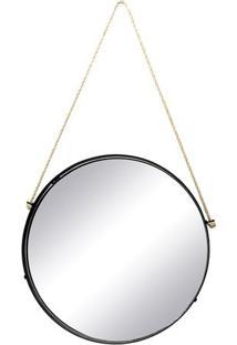 Espelho Redondo- Espelhado & Preto- 88X45,6X4Cm-Decor Glass