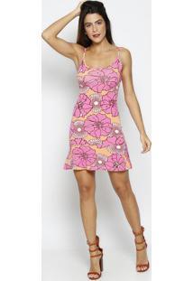 Vestido Floral Com Recorte Vazado - Rosa & Laranja Clarothipton