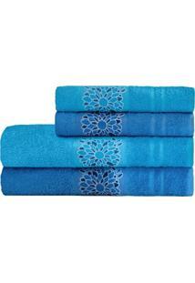 Jogo De Banho Camesa Dalia4 Peças Azul Claro Azul Escuro