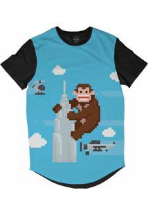 Camiseta Insane 10 Longline King Kong Pixelado Sublimada Preta Azul