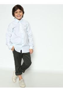 Camisa Listrada Maquinetada - Branca & Azul Claroogochi