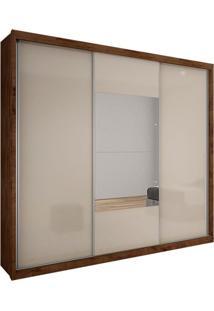 Guarda-Roupa Casal Com Espelho Trento Gold 3 Pt Canela E E Off White