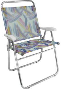 Cadeira Praia Cancun Plus Zaka Alumínio Estampada Até 120 Kg Aquarela