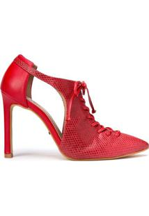 Amaro Feminino Ankle Boot Salto Fino Com Recortes, Vermelho