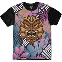 Camiseta Long Beach Totem Floral Rei Sublimada Masculina - Masculino-Roxo a014c5c1c1ba7