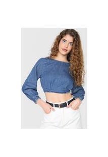 Blusa Cropped Jeans Colcci Pregas Azul