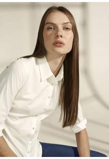 Camisa Feminina Básica Slim Em Tecido De Algodão