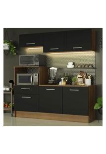 Cozinha Compacta Madesa Onix 180001 Com Armário E Balcáo - Rustic/Preto Marrom