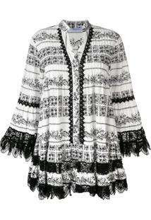 Blumarine Vestido Com Detalhe De Renda - Branco