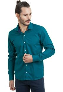 Camisa Di Sotti Microestampa Azul Petróleo - Masculino