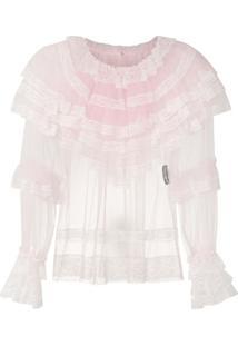 Dolce & Gabbana Blusa De Babados Com Transparência - Rosa