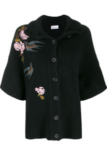 Red Valentino Cardigan Com Bordado - Preto
