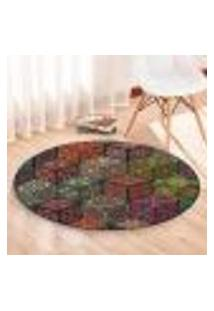 Tapete Redondo Wevans Quadrados Geométrico Coloridos 84Cm