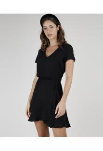 Vestido Feminino Curto Com Transpasse E Babado Manga Bufante Preto