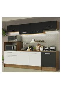 Cozinha Completa Madesa Onix 240003 Com Armário E Balcáo - Rustic/Preto/Branco 5Z77 Marrom