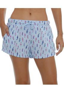 Pijama Feminino Short Estampa Penas Marisa