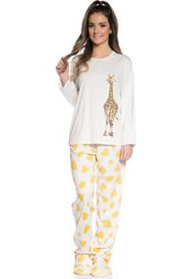 Pijama De Inverno Villa Enzo Feminino Em Algodão - Feminino-Amarelo
