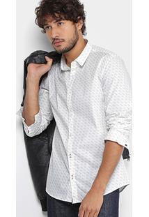 Camisa Calvin Klein Slim Fit Mini Print Masculina - Masculino