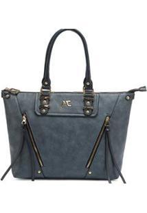 Bolsa De Mão Ou Antebraço Grande Macadamia - Feminino-Azul