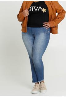 Calça Jeans Feminina Skinny Strass Plus Size Biotipo