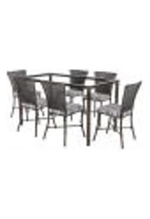 Jogo De Jantar 6 Cadeiras Turquia Tabaco A32 E 1 Mesa Retangular Sem Tampo Ideal Para Área Externa Coberta