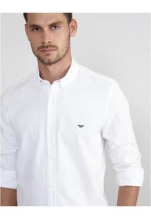 Camisa Aviator Slim Fit Oxford Masculina - Masculino-Branco