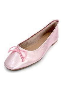 Sapatilha Couro Dali Shoes Bailarina Rosa