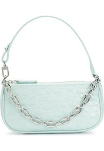 By Far Rachel Crocodile-Effect Shoulder Bag - Azul