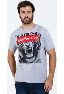 Camiseta Masculina Manga Curta Estampa Tigre Marisa
