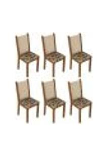 Kit 6 Cadeiras 4291 Madesa - Rustic/Crema/Bege Marrom