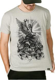 Camiseta Artseries Caveira Mexicana Com Anjo
