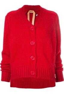 Nº21 Cardigan Com Botão Lateral - Vermelho