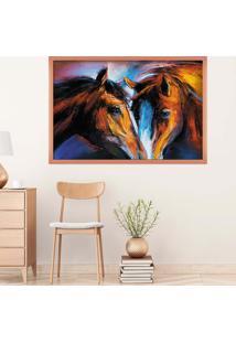 Quadro Love Decor Com Moldura Cavalos Rose Metalizado Grande