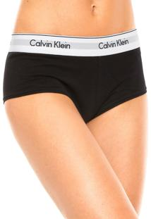 Calcinha Calvin Klein Underwear Boxer Logo Preta