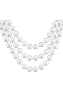 Colar Barbara Strauss Veneza Em Pérola Produzida Revestido Em Ouro 18K - Feminino-Branco
