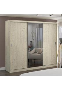Guarda-Roupa Casal 3 Portas Com 1 Espelho 100% Mdf 7318G4E1 Marfim Areia - Foscarini