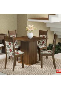 Mesa De Jantar 4 Lugares Malibu Rustic/ Floral Hibiscos - Madesa