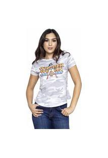 Camiseta Sideway Mulher Maravilha Camuflada - Branco/Cinza