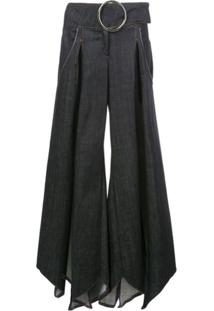 Fantabody Saia Jeans Com Fendas - Azul
