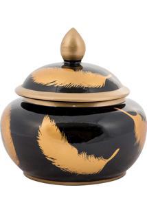 Vaso Decorativo De Porcelana Umoja - Linha Black & Gold