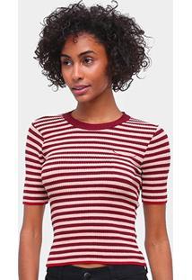 Blusa Maria Filó Listrada Canelada Feminina - Feminino-Vermelho Escuro