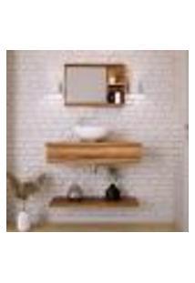 Conjunto Para Banheiro Bancada Com Cuba R35 Redonda, Prateleira E Espelheira City 806 Nogal